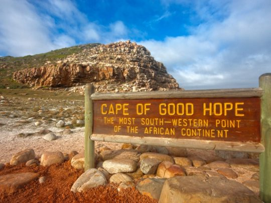 Picture of the Cape of Good Hope sign in Cape Point Nature Reserve with rocks lying around it