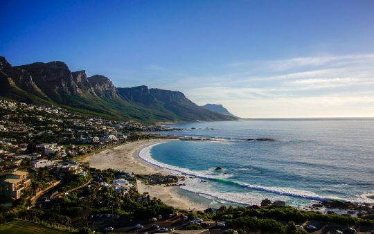 ocean, beach and mountains in Camps Bay, South Africa