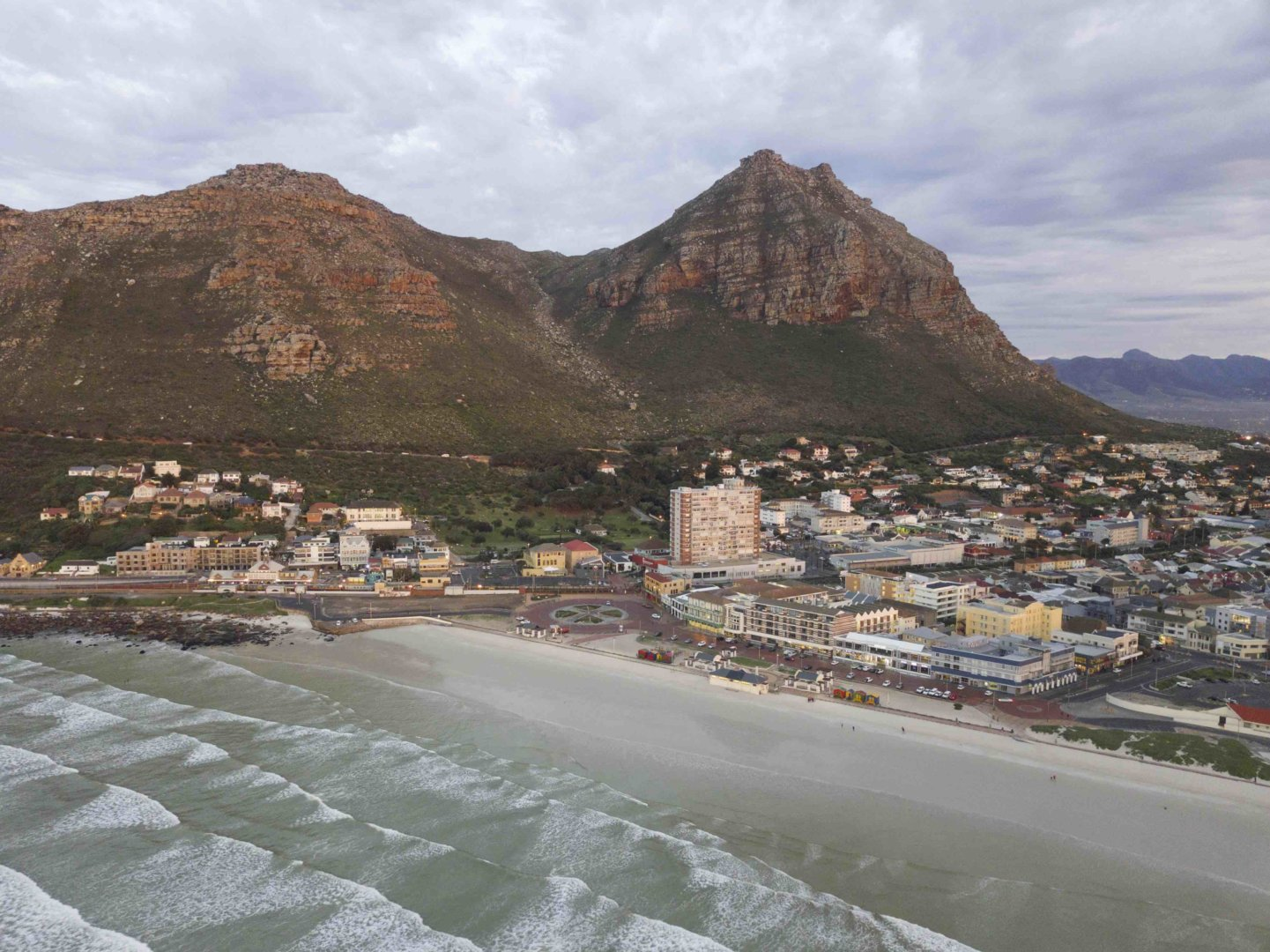 Birds eye view of Muizenberg beach at Sunrise